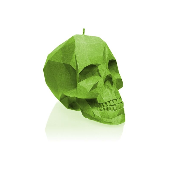 Lime Large Low Poly Skull