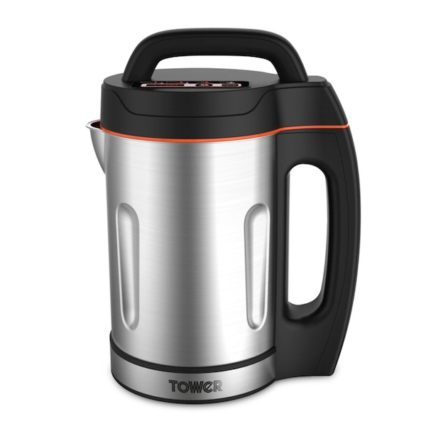 Tower T12031 Soup Maker with Stainless Steel Jug and Blade 1.6 Litre Silver UK Plug