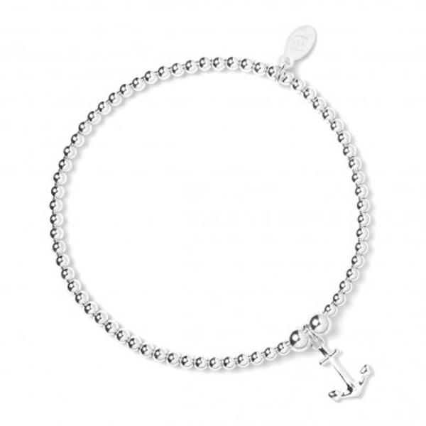 Anchor Charm with Sterling Silver Ball Bead Bracelet