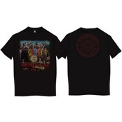 Sgt Pepper Mens Black Vintage Print T Shirt: Small