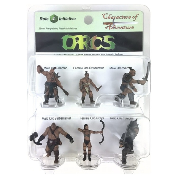 Orcs Party of 6 - Set A - 28mm Pre-painted Plastic Miniatures