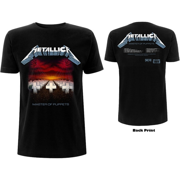 Metallica - Master of Puppets Tracks Unisex Large T-Shirt - Black