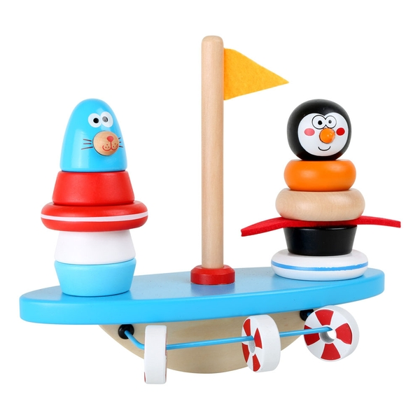 LEGLER Small Foot South Pole Puzzle Game and Balancing Rocker Wooden Toy
