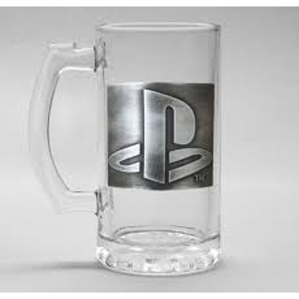 Playstation - Logo with Metal Badge 500ml Glass Stein Gift Box Included