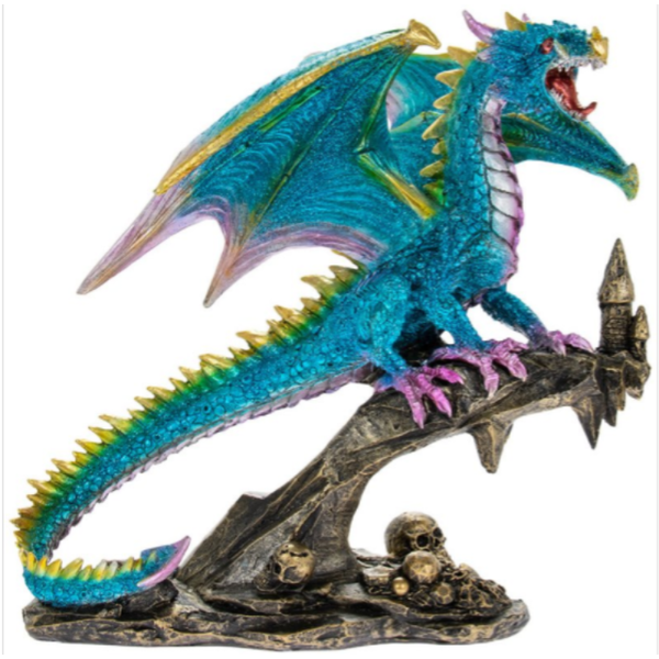 Dragon Blue On Perch Figurine By Lesser & Pavey