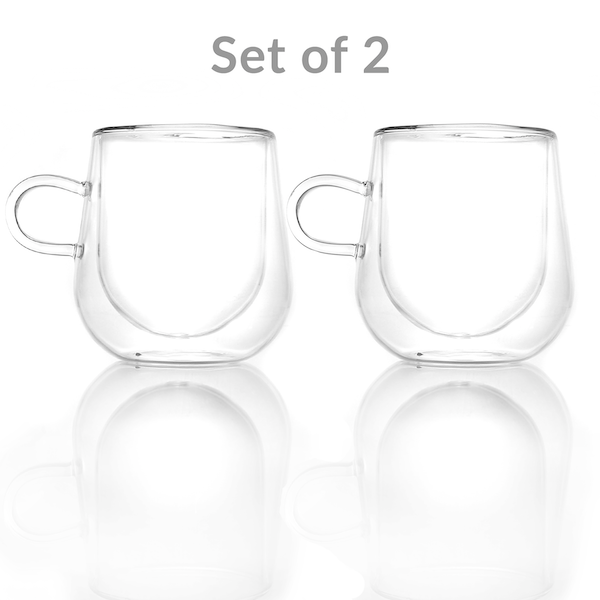 Set of 2 Double Walled Insulated 275ml Mugs | Heat Resistant Coffee Glasses M&W - Image 8