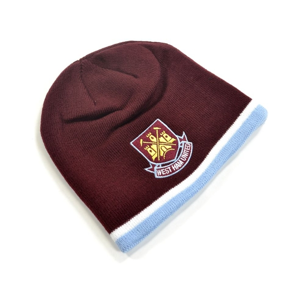 West Ham Classic Crest Youths Knitted Beanie Hat Claret Sky