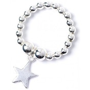 Star Charm Sterling Silver Ball Bead Ring