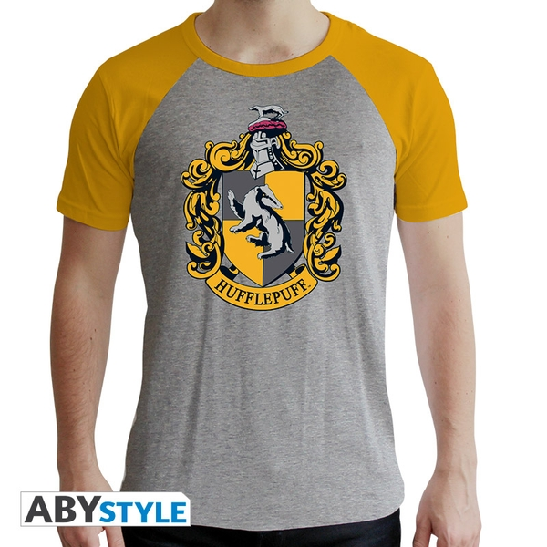 Harry Potter - Hufflepuff Men's Large T-Shirt - Grey and Yellow