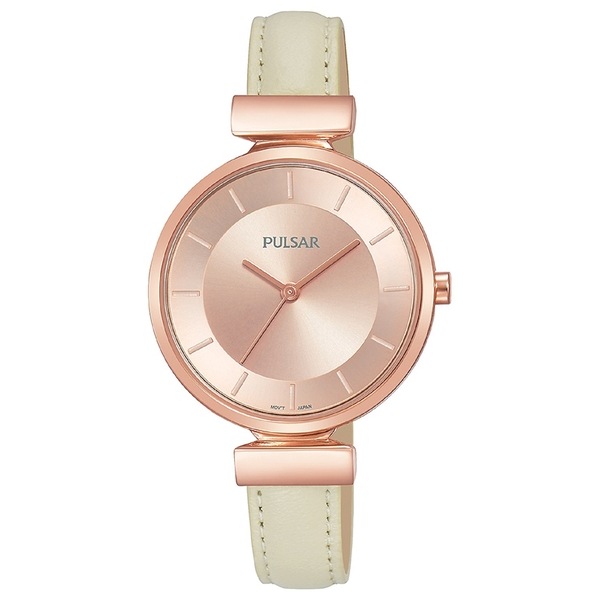 Pulsar PH8418X1 Ladies Cream Leather Strap Rose Gold Case 50M Watch