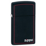 Zippo Slim With Logo & Boarder Black Matte Windproof Lighter