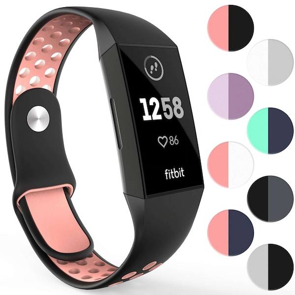 YouSave Activity Tracker Silicone Sports Strap - Black & Pink (Large)
