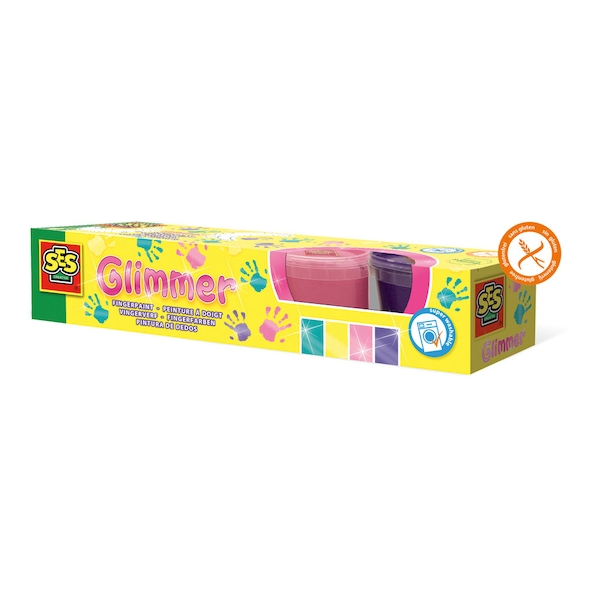 SES Creative - Children's Glimmer Washable Fingerpaint Set 4 Paint Pots (Multi-colour)