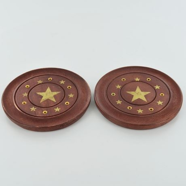 Pentagram Brass Inlay Incense Plates 10cm | Set of 2