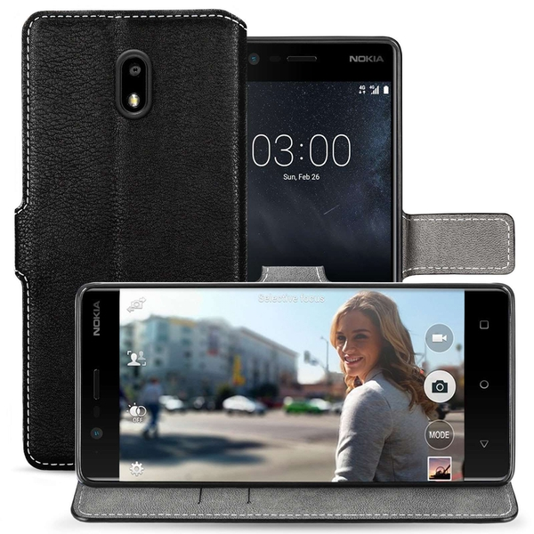 Nokia 3 PU Leather Slim Wallet Stand Case - Black