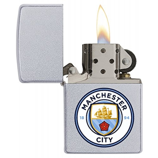 Zippo Unisex Manchester City FC (Official Printed Crest) Windproof Lighter Satin Chrome
