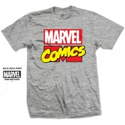 Marvel Comics Logo Mens Grey T Shirt XX Large