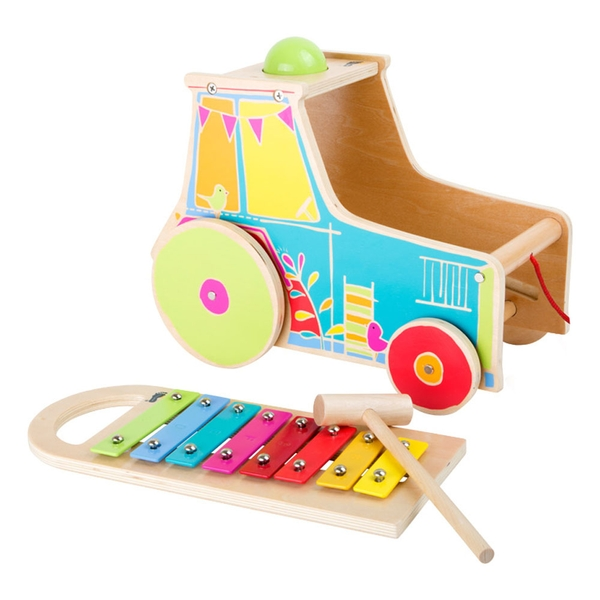 LEGLER Small Foot Children's Wooden Motor Activity Tractor with Xylophone Toy