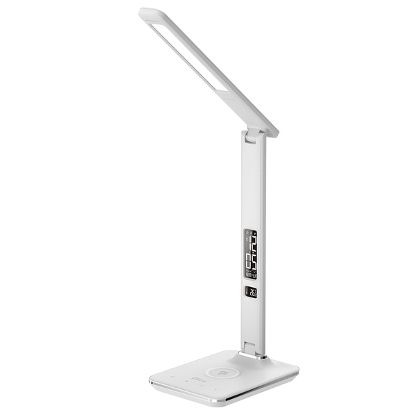 Groov-e GVWC04WE Ares Desk LED Lamp with Wireless Charging Pad & Clock - White UK Plug