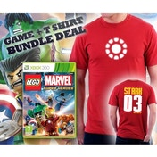 Lego Marvel Super Heroes Game + Iron Man Arc Reactor Double Sided Red T-Shirt Large Xbox 360