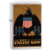 Zippo U.S. Navy Enlist Now Brushed Chrome Finish Windproof Lighter