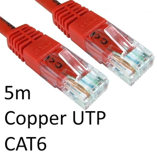RJ45 (M) to RJ45 (M) CAT6 5m Red OEM Moulded Boot Copper UTP Network Cable
