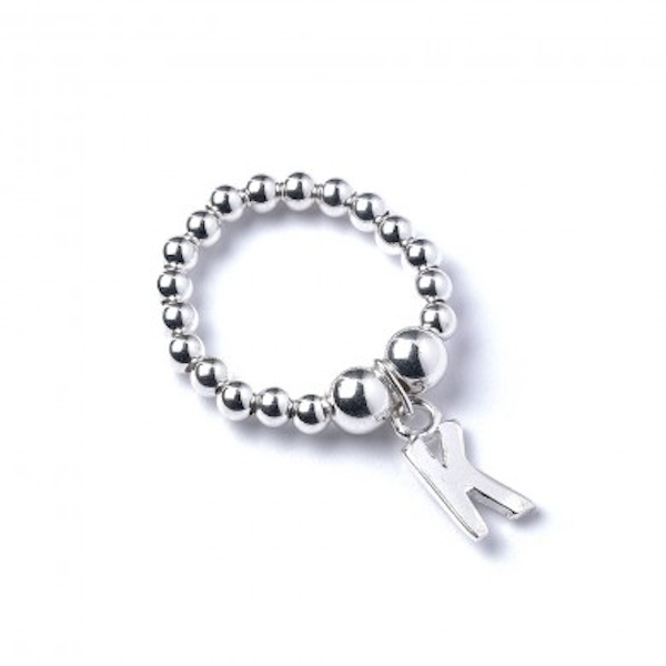 Initial K Charm with Sterling Silver Ball Bead Ring