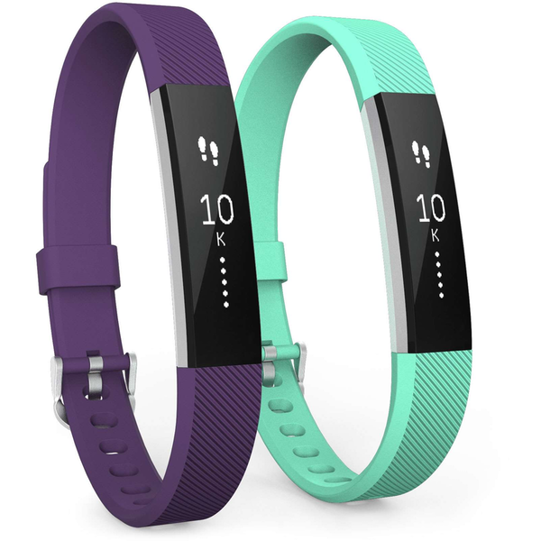 Yousave Fitbit Alta / Alta HR Strap 2-Pack Large - Plum/Mint Green