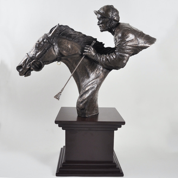 Horse Racing By a Neck by David Geenty Cold Cast Bronze Sculpture
