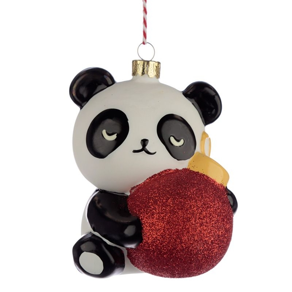 Panda Glass Christmas Bauble Decoration