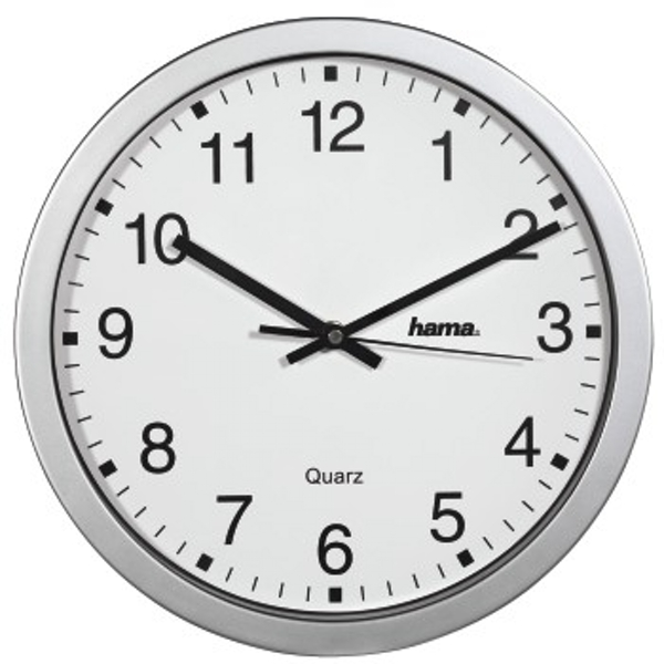 Hama CWA100 Wall Clock, Silver, White, One Size