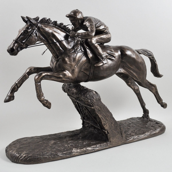 The Hurdler by Harriet Glen Cold Cast Bronze Sculpture 26cm