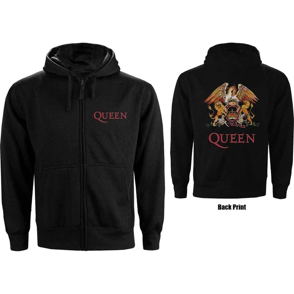 Queen - Classic Crest Men's XX-Large Zipped Hoodie - Black