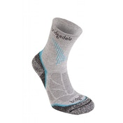Bridgedale Women's CoolFusion Run Qwik Socks, Grey/Turquoise - Small