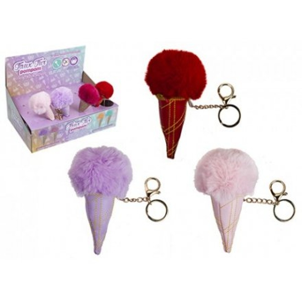 Pompom Icecream Keyring (1 Random Supplied)