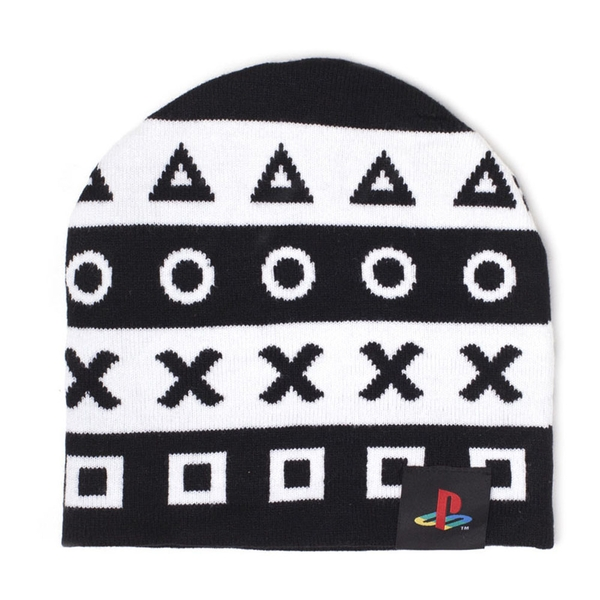 Sony - Playstation Symbols Unisex One Size Beanie - Black/White