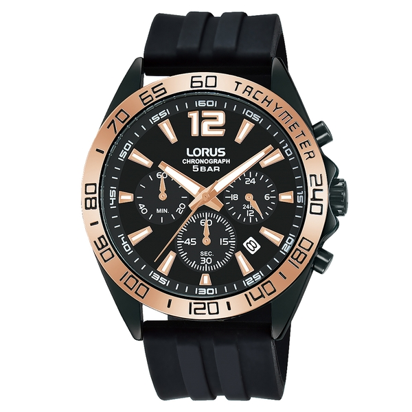 Lorus RT338JX9 Mens Chronograph Watch with Sunray Black Dial