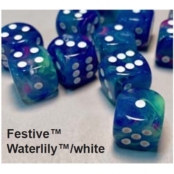 Chessex 16mm D6 Dice Block Festive Waterlily With white