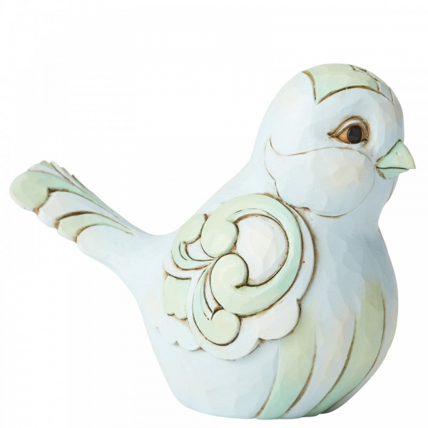 Pale Blue and Green Bird Figurine by Jim Shore