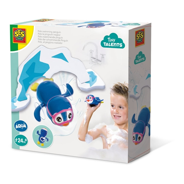 SES Creative - Children's Tiny Talents Wind-up Polo Swimming Penguin Bath Toy (Blue/White)
