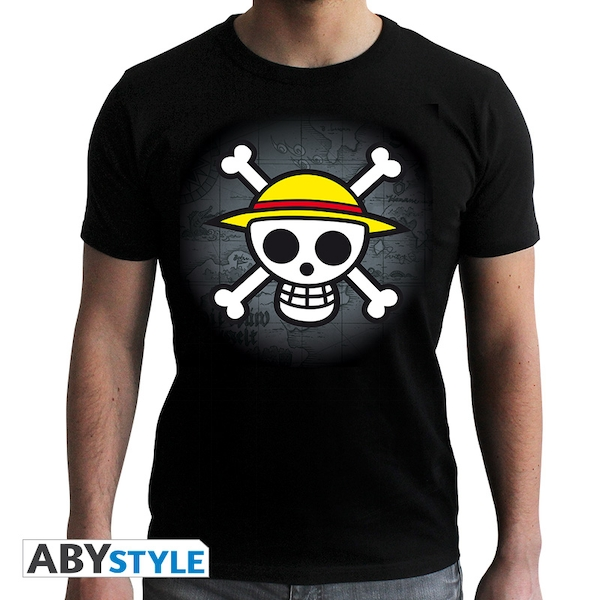 One Piece - Skull With Map Men's X-Small T-Shirt - Black