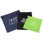 Hama Storage Bag with Drawstring, 3 pieces, black/blue/green