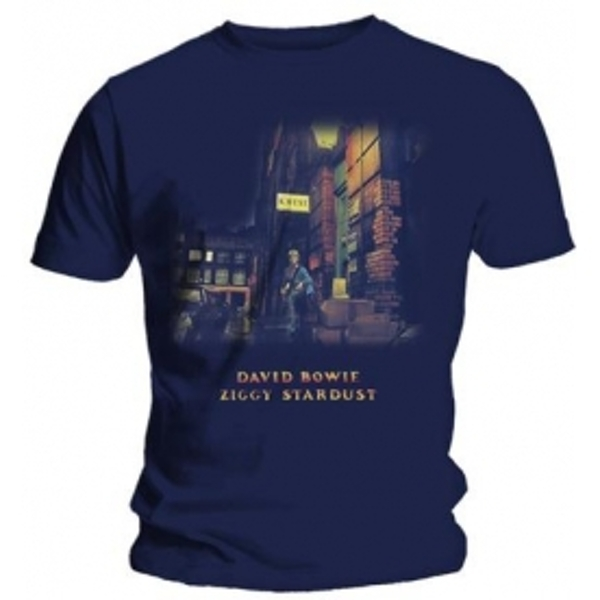 David Bowie Ziggy Stardust Mens Navy T Shirt: Medium