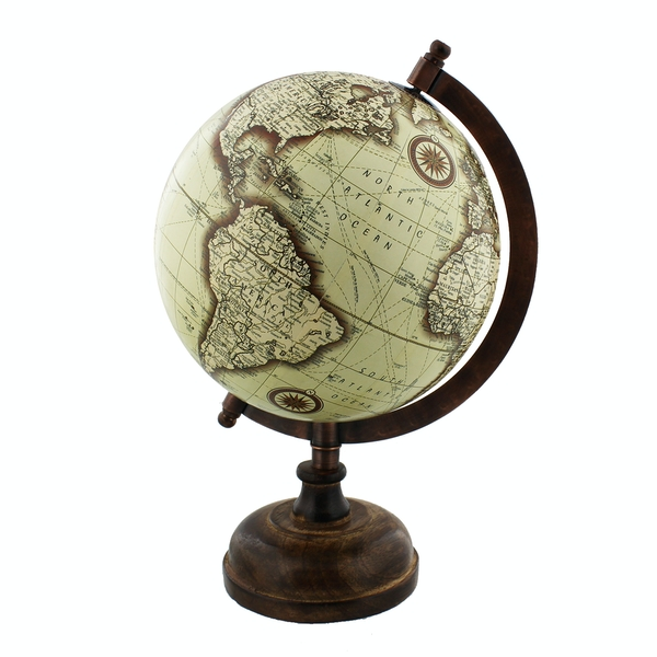 Emporium Collection Globe with Metal & Wooden Base 27cm