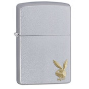Zippop Playboy Cornered Bunny Satin Chrome Finish Windproof Lighter