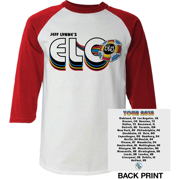 ELO - 2018 Tour Logo Men's Medium Raglan T-Shirt - White