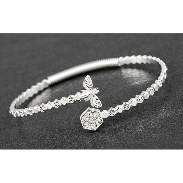 Honey Bee Honeycomb Silver Plated Bangle