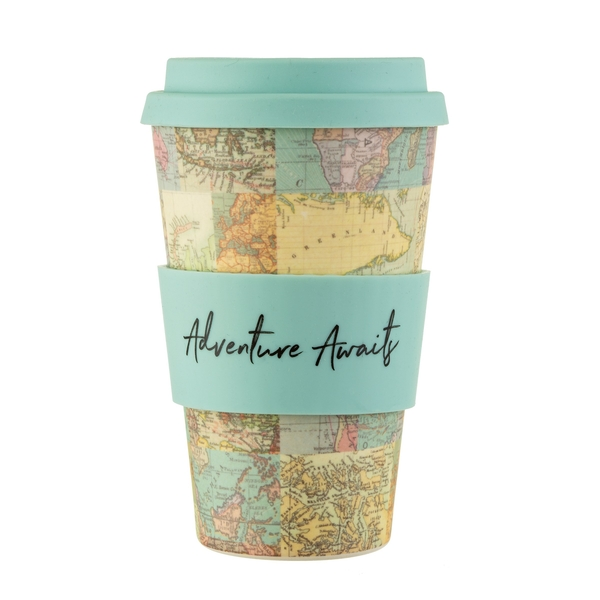 Sass & Belle Vintage Map Collage Bamboo Coffee Cup