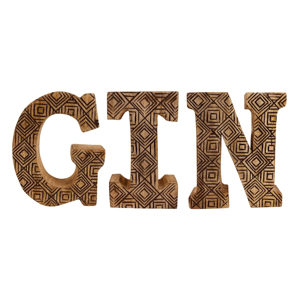 Hand Carved Wooden Geometric Letters Gin