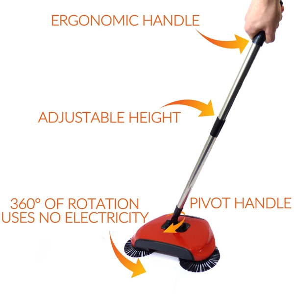 Automatic Spin Sweeper 3 in 1 Floor Sweeping Brush Broom, Duster & Dustpan M&W - Image 2
